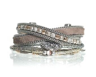 Boho chic multiple strands beaded bracelet with grey leather and Swarovski crystals - leather wrap bracelet - bohemian bracelet
