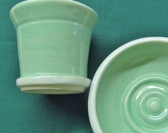 Tumbler and Soap Dish Set Handmade Ceramic Pottery Mint Turquoise and White Bath Set