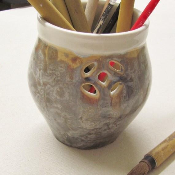 Flower Vase Brush Holder Handmade Pottery Porcelain Crystalline Vase