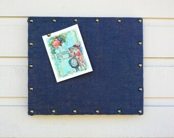 Burlap Bulletin Board, Nail head trim detailing, dimensional box frame, Custom Pin Board for your office, bedroom or kitchen, wall decor