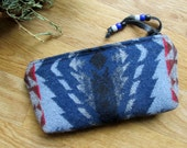 Medicine Bag, Totem Pouch, Coin Zippered Change Purse Hawkeye Design Southwest Inspired - Lined 7.5 x 4