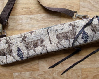 Native Flute Whistle Case, Shakuhachi Drumstick Bag Pennywhistle Pipe, Medicine Pouch  - Plush Lined 19 x 5