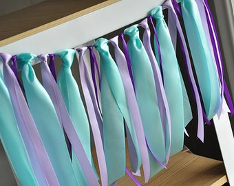 Under the Sea Party Supplies.  Handcrafted in 2-3 Business Days.  Ribbon Highchair Garland.