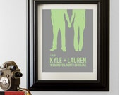 Personalized Wedding Gift - Couples Silhouette - Custom Portrait Choose your text and colors