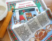 Unused Vintage Irish Linen Dishtowel With Bread Recipies