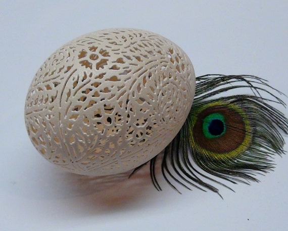 Hand Carved Victorian Lace Peahen Egg - Full Floaral Pattern