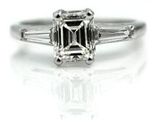 Emerald Cut Diamond Engagement Ring 1.08ctw Platinum Emerald Cut Engagement Ring Tapered Baguette Diamond Engagement Ring