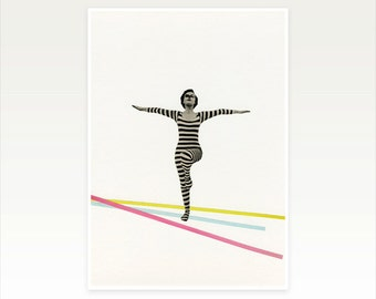 Mid Century Dance Art, Female Figure Portrait Print - The Bold and the Bright