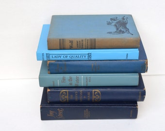 Vintage Royal Blue Decorative Book Stack