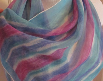 "Lovely Blue Purple Chiffon Silk Fashion Scarf - 16 x 40"" Long"