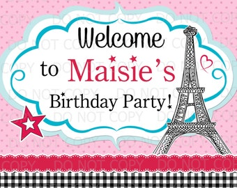 "Printable DIY Paris France Eiffel Tower Birthday Girl Doll Welcome sign - 8"" x 10"""