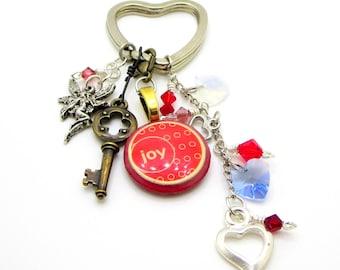 Keychain with Swarovski beads, Heart Keychain
