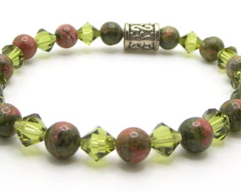 Handmade Beaded Bracelet featuring Unakite and Moss green bicones, stretches to fit, will customize size