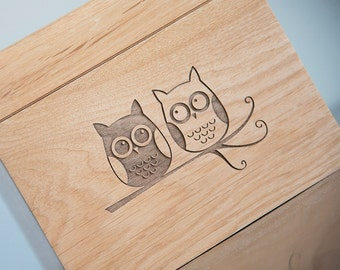 Wooden Recipe Box with Adorable Owls