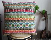 Mexican Pillows - Colourful Throw Pillow Cushion Covers - Navajo Aztec Motif