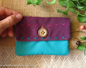 Small Purse in Purple, Pink and Turquoise Color Combination - For Cards, Coins and Small Essential
