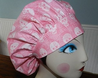 Small Skulls on Pink  Banded Bouffant Surgical Cap