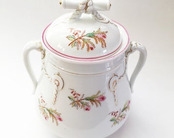 Vintage Porcelain Cookie Jar Shabby Cottage Chic China Cookie Jar Biscuit Jar French Farmhouse Kitchen Decor Hand Painted Pink Flowers