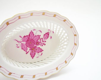 Pink China Trinket Dish Herend Openwork Porcelain Basket Raspberry