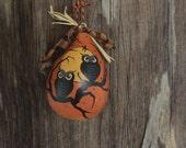 Halloween Gourd 2 Owls Vintage Style Ornament Ornie Hand Painted Folk Primitive