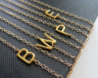 SALE NEW asymmetrical initial necklace, Personalized jewelry, sideways initial necklace, trendy gift