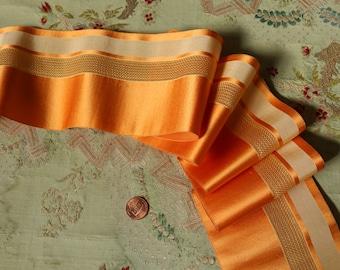 "1 yard Antique silk satin woven faille ribbon deep ecru golden pumpkin cream shade 3 15/16"" wide doll art deco millinery hat trim ribbonwork"