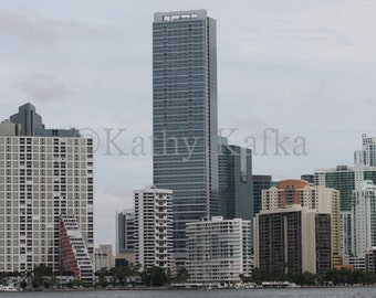 Photo Art by Kathy Kafka - Miami Skyline downtown Brickell buildings view fine art photography print wall picture from Key Biscayne