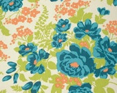 Orange Teal and Green Floral Rose Rayon Challis, Floral By Joel Dewberry for Free Spirit