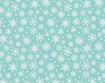 Aqua Blue and White Snowflake Flannel, Merry Matryoshka by Carly Griffith for Riley Blake, Snowflake Print in Blue, 1 Yard