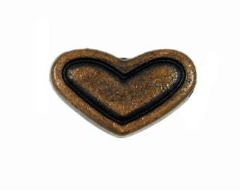 Wide Heart Antique Copper Metal Rivet Sets - 0.36 inch - 4 pieces