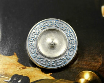 Metal Buttons - Light Blue Scrollworks Metal Buttons , Silver Color , Shank , 0.79 inch , 10 pcs