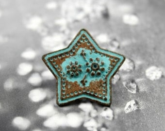Metal Buttons - Flowers in Star Metal Buttons , Green Patina Color , Shank , 0.91 inch , 6 pcs