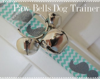 Dog Housebreaking Training Bells, Paw Bells, Mustache Chevron, Instructions included