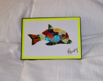 """Real  Butterfly Wings Framed  """" Dolphin""""  Collage"""