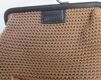 Beige Clutch the SAK leather crochet brown