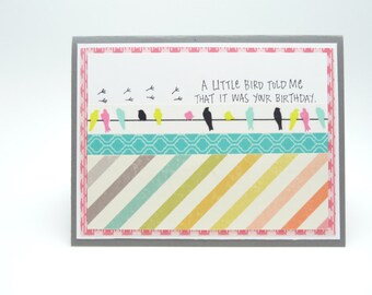 Happy Birthday Card for Her Little Bird Birthday Card Washi Tape Greeting Card Classy Handmade Paper Greeting Card Fancy Card for Women