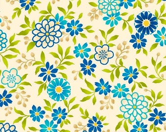 Salsa  Blue Floral Cotton Quilt Fabric by the 1/2 yard