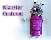 Boo Inspired Monster Costume, Holographic, Detatchable Hood sizes 2T to 5T