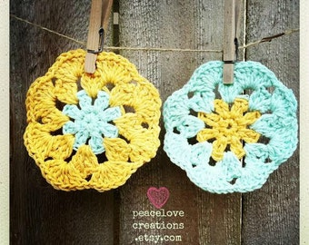 Crochet Wash/Dish Cloth Set of Two~Ready to ship~FREE SHIPPING