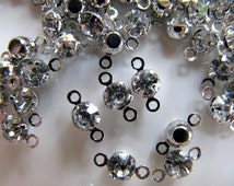 Rhinestone Connector Charms, Clear Gems in Silver Tone, 10mm x 4mm, 2 Holes for Attaching, 50 pcs