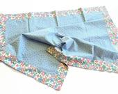 Pink blue flower cotton baby toddler blanket self binding reversible