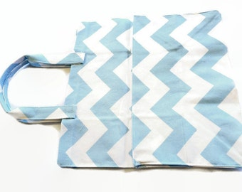Pale pastel blue white chevron washable large Grocery bag, eco-friendly marketing shopping reusable