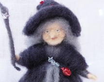 Needle felted Witch and her Cauldron, Halloween , wool felted Gnome, Autumn festivals, nature scene