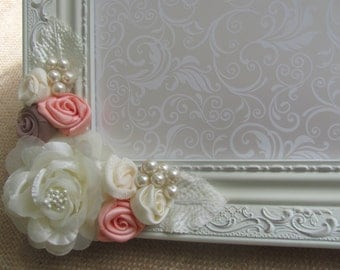 5 x 7 Vintage Ivory Wedding Picture Frame, Coral and Ivory Picture Frame, Wedding Picture Frame, Bridal Picture Frame, Reception Table Decor