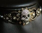 Tête de mort Steampunk RAS de cou - pendentif - bijoux fait - main - Art
