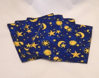 Cloth Wipes- Moon & Stars- Set of 4- 15003