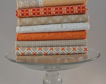 Modern Minis Brown/Orange 8 Fat Quarters by Lori Holt of Bee in My Bonnet for Riley Blake, 2 yards total