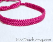 WINTER SALE!!! Free Shipping or Save 20% ~ Magenta Dark Pink solid color knotted friendship bracelet ~ Made to Order