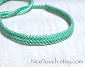 Light Green solid color knotted friendship bracelet ~ Made to Order