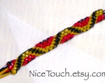 SUMMER SALE!!! Free Shipping or Save 20% ~ Dumbledore's Phoenix red, yellow, and black woven gimp keychain ~ Made to Order
